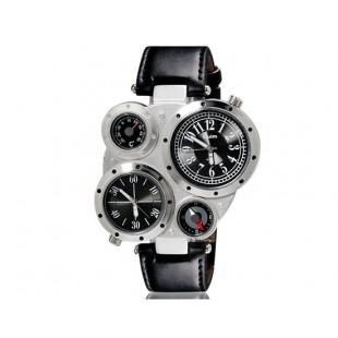 OULM 9415 часы с  двойным циферблатом, термометром и компасом