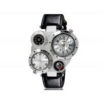 OULM 9415 мужские Dual-спортивное движение механические часы с двойным дисплеем GMT время, термометр и компас (белые)