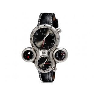 OULM 1149 мужские Dual-спортивное движение механические часы с двойным дисплеем GMT время, термометр и компас (черные)