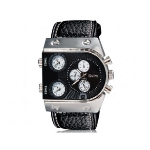 OULM 9315 Мужские спортивные часы с кожаным ремешком (черные)