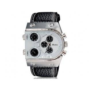 OULM 9315 3-Dial спортивные часы с кожаным ремешком (белые)