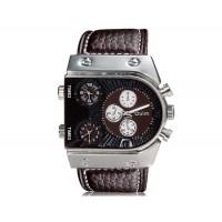 OULM 9315 Мужские спортивные часы с кожаным ремешком (коричневые)