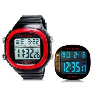 ALIKE AK1281 мужские цифровые спортивные наручные часы с подсветкой (красные)