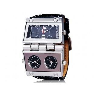 OULM 9525 Спорт Аналоговые часы с тремя Time Zone (черные)
