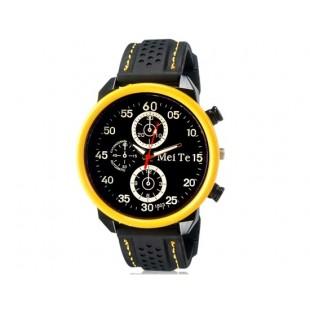 MEITE 1803 аналоговые часы  и каучуковый ремешок (желтые)