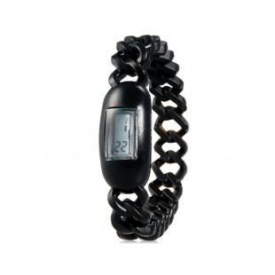 Силиконовые водонепроницаемые  наручные часы с календарем (черные)