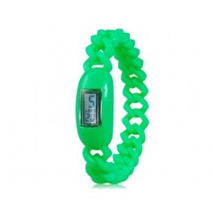 Силиконовые водонепроницаемые  наручные часы с календарем (Green)