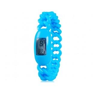 Силиконовые водонепроницаемые  наручные часы с календарем (синие)