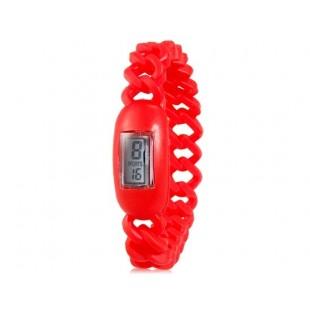 Силиконовые водонепроницаемые  наручные часы с календарем (красные)