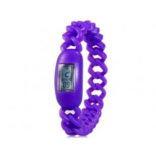Силиконовые водонепроницаемые  наручные часы с календарем (фиолетовый)