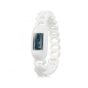 Силиконовые водонепроницаемые  наручные часы с календарем (белые)