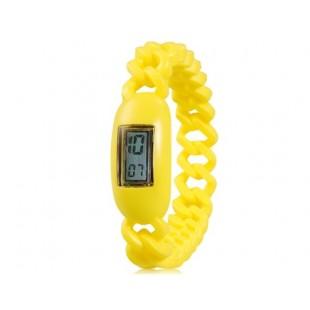 Водонепроницаемые  наручные часы с календарем (желтые)