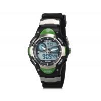 OHSEN AD2819 Unisex водонепроницаемые спортивные электронные наручные часы с датой и будильником (черные + зеленые)