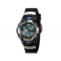 OHSEN AD2819 Unisex водонепроницаемые спортивные электронные наручные часы с датой и будильником (черные + синие)