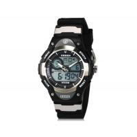 OHSEN AD2819 Unisex водонепроницаемые спортивные электронные наручные часы с датой и будильником (черные + серый)