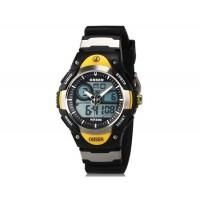 OHSEN AD2819 Unisex водонепроницаемые спортивные электронные наручные часы с датой и будильником (черные + желтые)