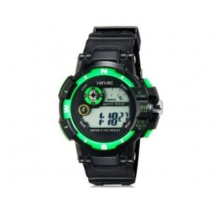 XINJIE XJ-931 унисекс водонепроницаемые цифровые спортивные часы с холодным светом (черные+зеленые)