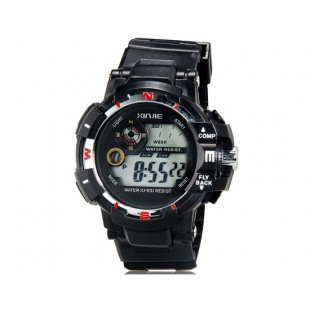 XINJIE XJ-931 унисекс водонепроницаемые цифровые спортивные часы с холодным светом (черные)