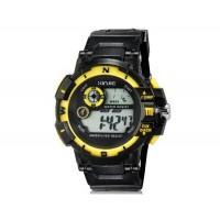 XINJIE XJ-931 унисекс водонепроницаемые цифровые спортивные часы с холодным светом (черные+желтые)