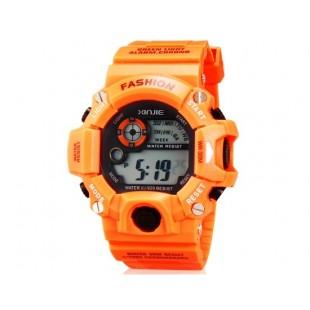 XINJIE XJ-929 унисекс водонепроницаемые цифровые спортивные часы с холодным светом (оранжевый)
