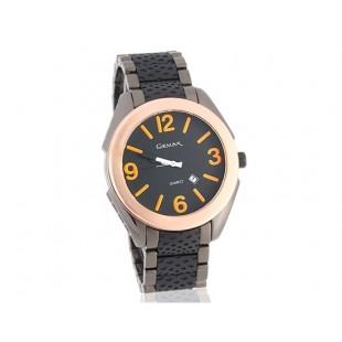 GEMAX 6188 кварцевые часы из нержавеющей стали браслет (черный)