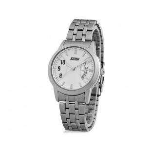 SKMEI  стильные часы  с Браслетом из нержавеющей стали (белая)