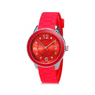 SHORS 80080 Аналоговые часы с календарем и силиконовый ремешок (красный)