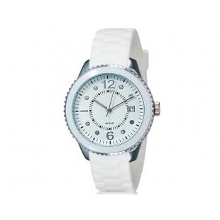 SHORS 80080 унисекс аналоговые часы с календарем и силиконовый ремешок (белый)