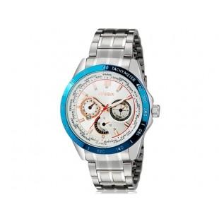 Curren 8150 аналоговые часы с календарем (белый и синий)
