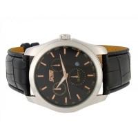 Купить SKMEI Круглый циферблат 30m водонепроницаемый Аналоговые часы с кожаным ремешком (Черный)