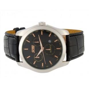 SKMEI Круглый циферблат 30m водонепроницаемый Аналоговые часы с кожаным ремешком (Черный)