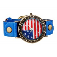 WOMAGE 523-5  Флаг США  круглый циферблат  часы (синий)