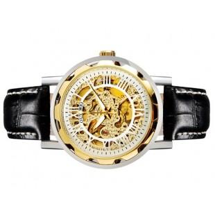 OUYAWEI 1221 Мужская модная Автоматические механические часы с кожаный ремешок (белый) М.