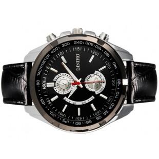 DINIHO 5002G Мужская модная аналоговые наручные часы с простым дизайном и искусственной кожаный ремешок (черный)
