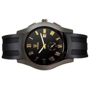 Валя 8263 Unisex Модные Круглый циферблат аналогового наручные часы с календарем (черный)