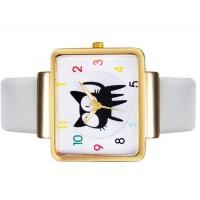 Купить JUBAOLI 1026 Unisex Cute Cat Распечатать площади набора аналоговые наручные часы с PU Band (белый)