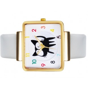 JUBAOLI 1026 Unisex Cute Cat Распечатать площади набора аналоговые наручные часы с PU Band (белый)