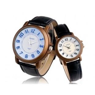 DINIHO 3 Hand Кварцевые часы пара с корпусом из нержавеющей стали, Faux кожаный Band, круглый циферблат (черный) артикул HP3917B