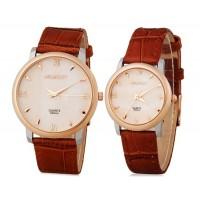 Момент 8005 круглый Циферблат аналоговые Кварцевые часы пара для влюбленных (коричневый)
