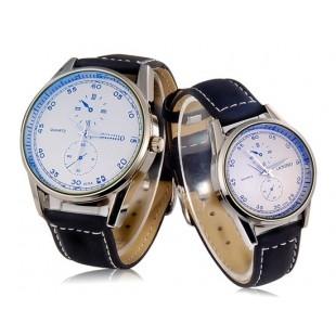 Парные часы DINIHO 5036A с кожаным ремешком ченрного цвета