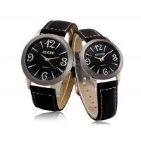 Стильные парные часы  DINIHO  5037A  с кожаным ремешком  (черный)