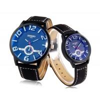 DINIHO 1120 г. кварцевые аналоговые часы Пара с искусственной кожаный ремешок (черный)