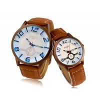 Купить Diniho 1120 г. Кварцевые аналоговые часы пара с искусственной Кожаный ремешок (коричневый)