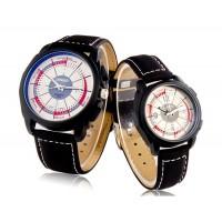 Купить Стильный 1123G кварцевый аналоговый водонепроницаемые часы пара с искусственной Кожаный ремешок (Белый)