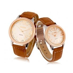 DINIHO 5037A кварцевый аналоговый водостойкой пару часов с искусственной кожи ремни (коричневый) артикул YW0954X