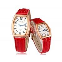 WOMAGE 427 аналоговые Кварцевые часы пара с искусственного Кожаный ремешок (Красный)