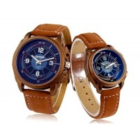 Купить DINIHO 1123G кварцевый аналоговый Водонепроницаемые часы Пара с искусственной кожаными ремнями (коричневый)