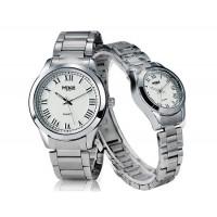 Купить Майк 8175 круглый Циферблат аналогового пара часы с нержавеющей стальной ремень (Белый)