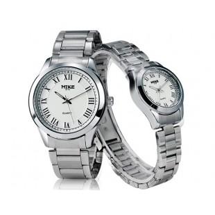 Майк 8175 круглый Циферблат аналогового пара часы с нержавеющей стальной ремень (Белый) артикул YW1150W