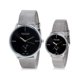 Модные WOMAGE 654 аналоговые пара часы (черный) М. артикул YW1515B